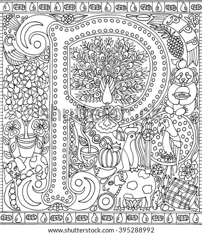 alphabet letter p adult coloring book fantasy sheet vector illustration - Fantasy Coloring Books For Adults