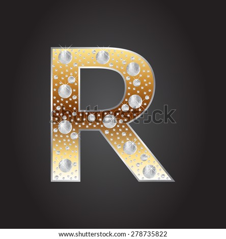 Alphabet letter R with diamonds.Abstract logo R.Vector illustration. - stock vector
