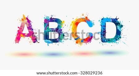 Alphabet. Letters A, B, C, D. Part 1 - stock vector