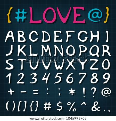 Alphabet Letters Set Marker Style Font Stock Vector 1045993705