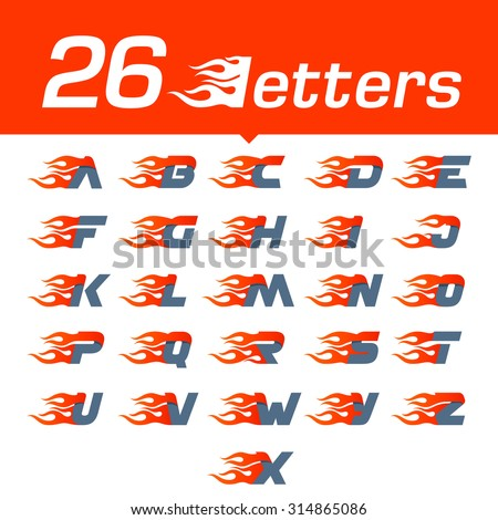 Alphabet letters set. Fast fire speed vector unusual letter. Vector design template elements for your application or company. - stock vector