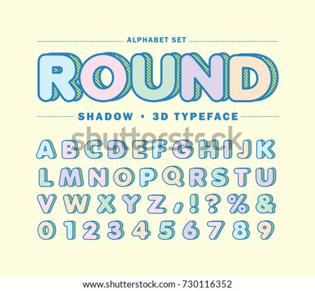 Alphabet Letters Set In Pastel Color Round 3D Fonts Or Typeface With Striped Shadow For