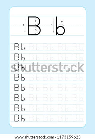 Alphabet Letters Tracing Worksheet Alphabet Letters Stock Vector ...