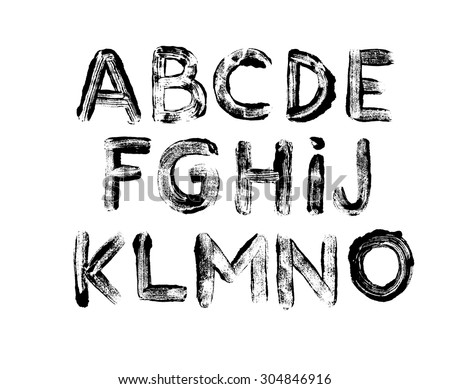 Alphabet letters: uppercase. Part 1. Imprints of letters. Vector alphabet. Hand drawn letters. Letters of the alphabet written with a dry paint brush - stock vector