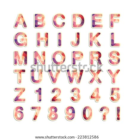 Alphabet. Letters with triangles pattern. - stock vector