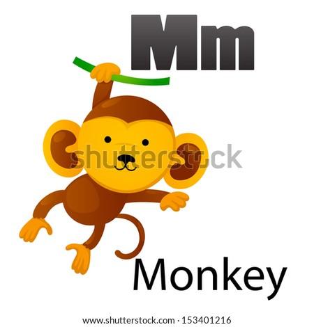 Alphabet M with Monkey - stock vector