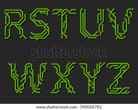 Alphabet made from printed circuit board - third part - stock vector
