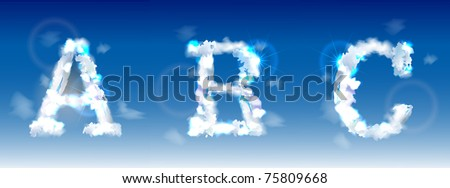 alphabet made of clouds - stock vector