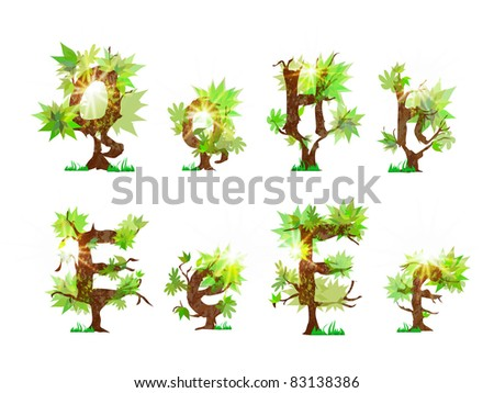 Alphabet made of green bushes - stock vector