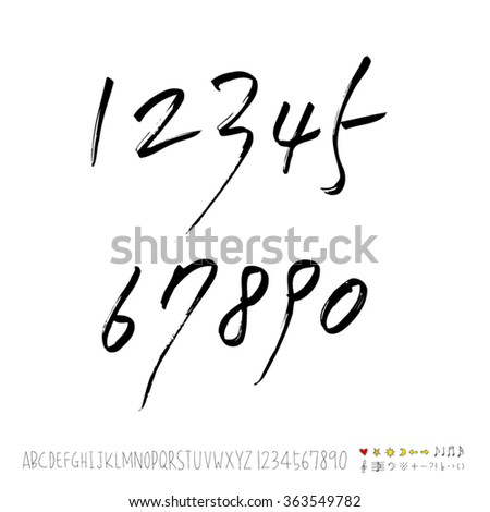Alphabet & number / Hand drawn calligraphy - vector