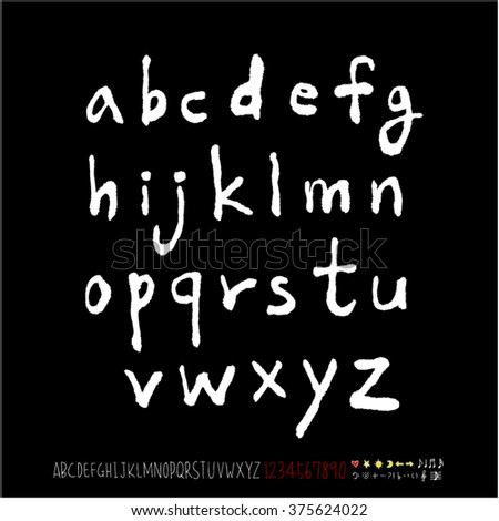 Alphabet & number / handwriting - vector