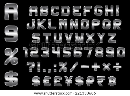 alphabet, numbers, currency and symbols pack - rectangular beveled metal font, vector
