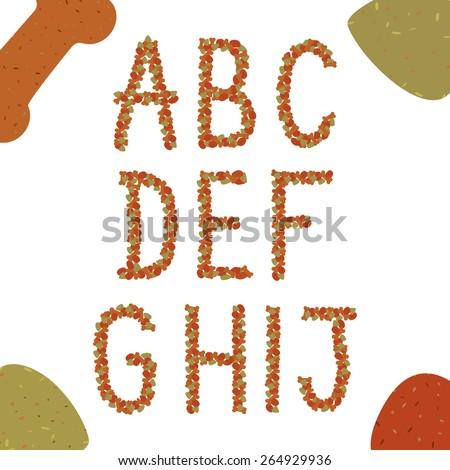 Alphabet of animal feed. Part 1. - stock vector