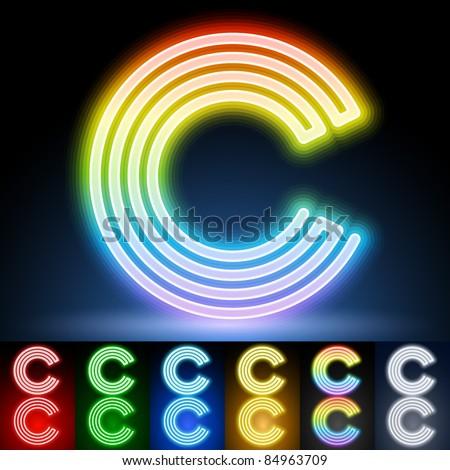 Alphabet of neon tubes. letter c - stock vector