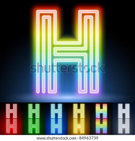 Alphabet of neon tubes. letter h - stock vector