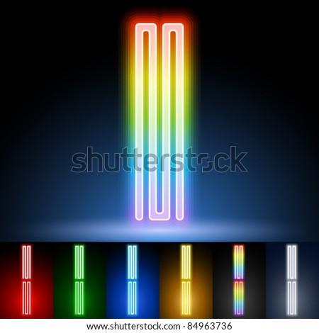 Alphabet of neon tubes. letter i - stock vector