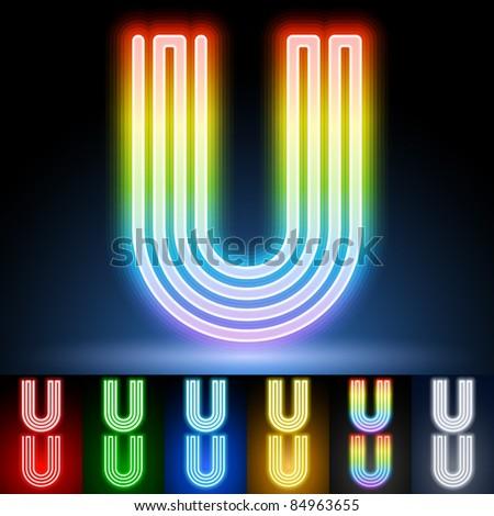 Alphabet of neon tubes. letter u - stock vector