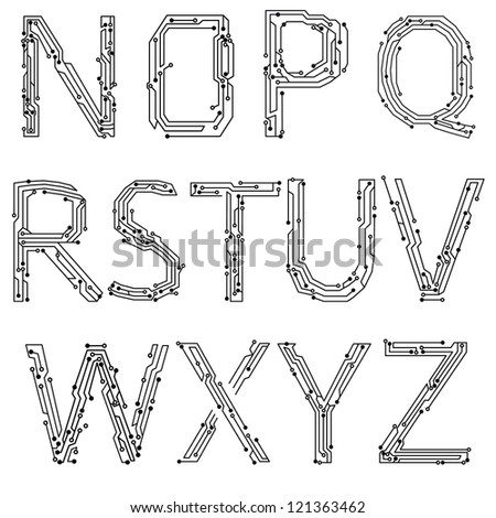 Alphabet of printed circuit boards. Easy to edit.Abstract circuit board background texture. Vector. Lowercase N-Z - stock vector