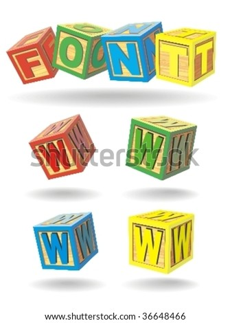 alphabet on a cubes. w. - stock vector