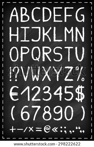 Alphabet on chalkboard. Chalk drawn effect. Hand painted letters, numbers and symbols set. Oil pastel crayon. Grunge style typography. Vector illustration.