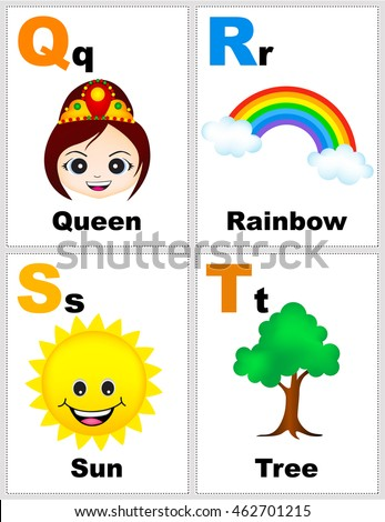alphabet printable flashcards collection letter q stock vector 462701215 shutterstock