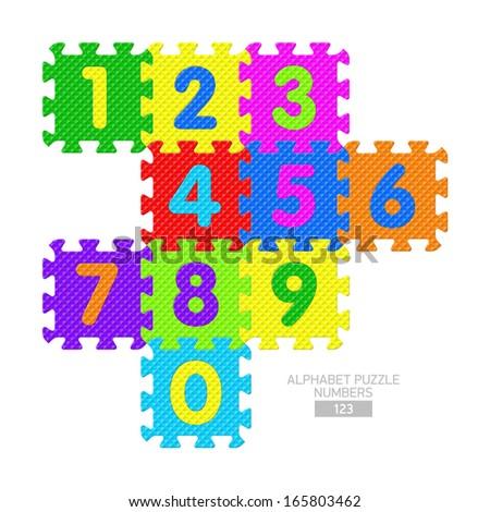 Alphabet puzzle - numbers. Vector. - stock vector