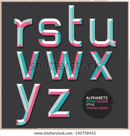 Alphabet retro colour style. Vector illustration. - stock vector