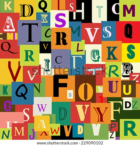 Alphabet seamless pattern for design - stock vector