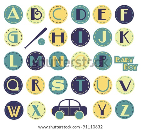 Alphabet Set - Boy - stock vector