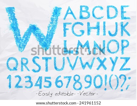 Alphabet set drawn pastel blots a spray blue color. Easily editable. Vector - stock vector