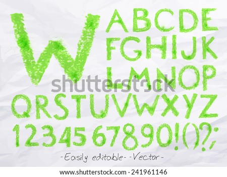 Alphabet set drawn pastel blots a spray green color. Easily editable. Vector - stock vector