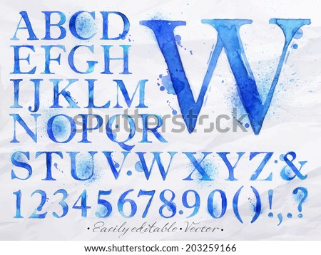 Alphabet set drawn watercolor blots and stains with a spray blue color. Easily editable. Vector - stock vector