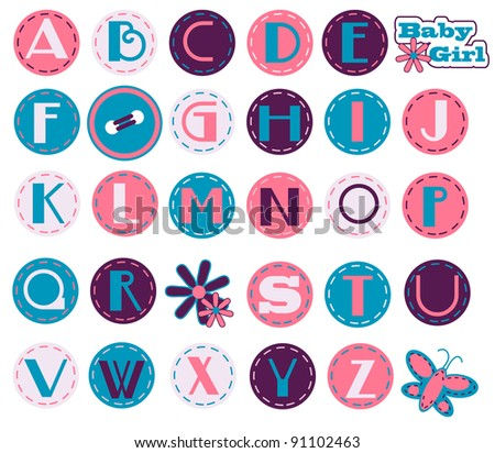 Alphabet Set - Girl - stock vector