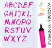 Alphabet set - letters are made by marker. - stock vector