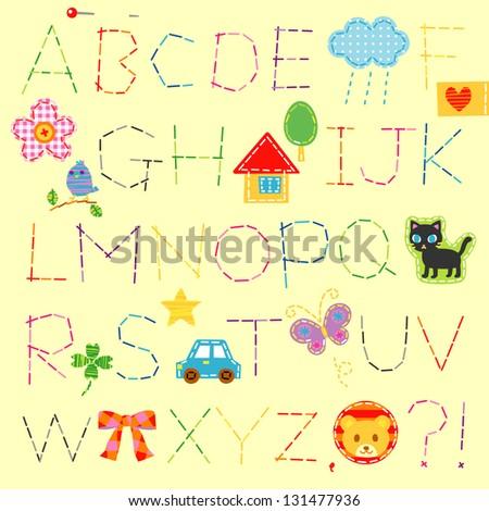 alphabet / stitch - stock vector