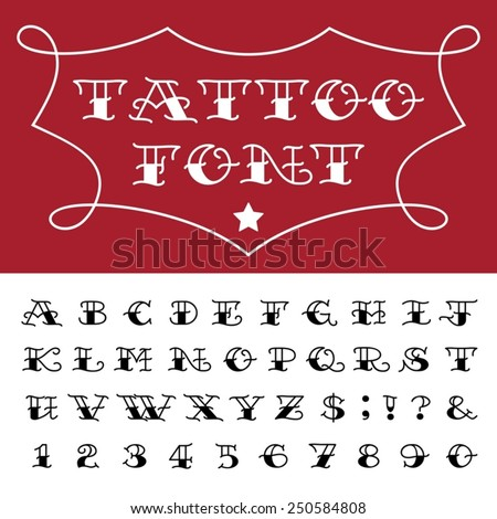 Alphabet Tattoo Vector Font Type Letters Stock 250584808