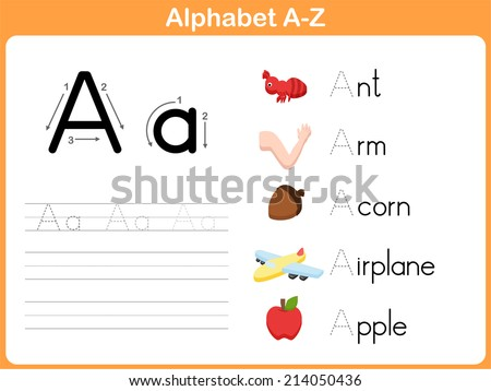 Alphabet Tracing Worksheet: Writing A-Z - stock vector