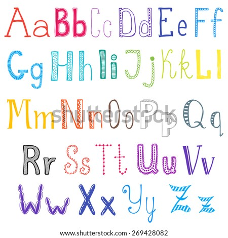 Alphabet vector. Hand drawn letters.
