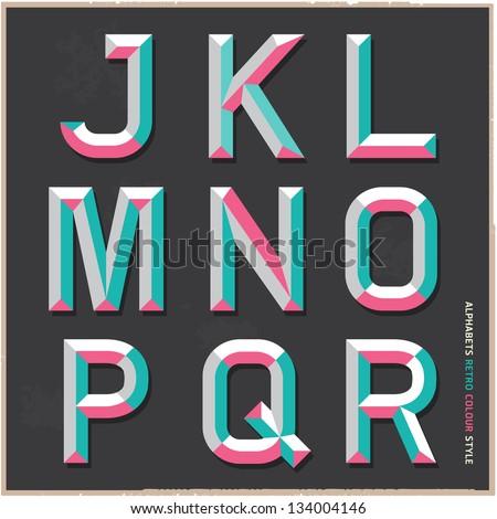 Alphabet vintage colour style. Vector illustration. - stock vector