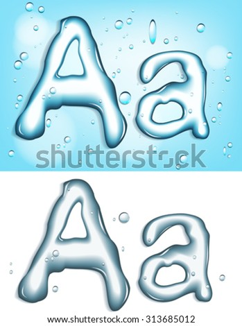 Alphabet water letter A - stock vector