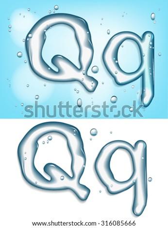 alphabet water, letter q - stock vector