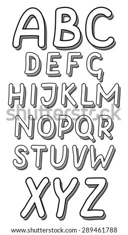 Alphabet With Drop Shadow Letters Painted Black Marker Vector Illustration