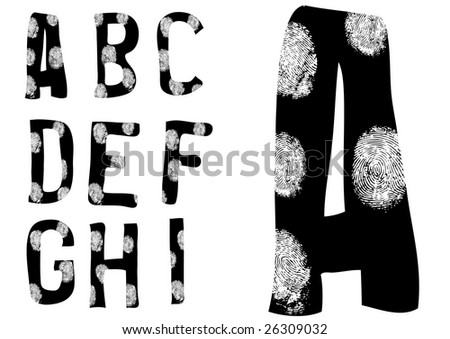 Alphabet with fingerprints over them A to I (Set 1 of 3) - stock vector
