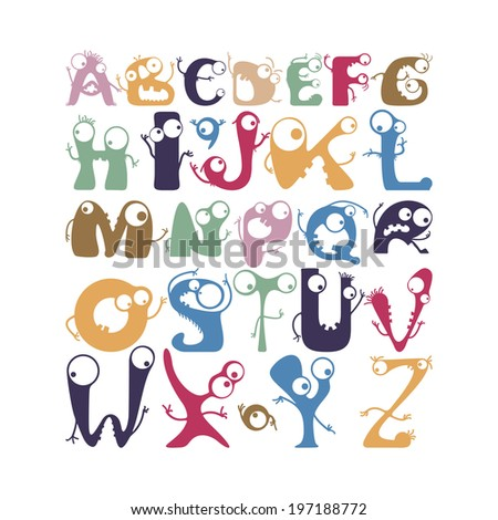 Alphabet with funny monsters - stock vector