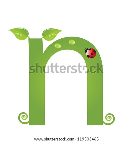 Alphabet with green leaf, eco concept