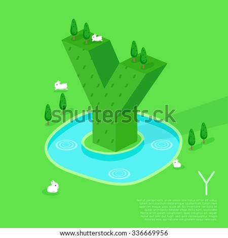 Alphabet With Nature Elements : Vector Illustration - stock vector