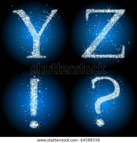 alphabet with shine stars - stock vector