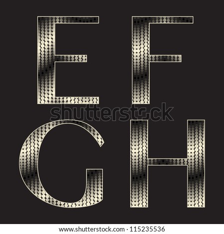 Alphabet with shiny texture. Stylized snake skin. Holiday font ( e f g h )