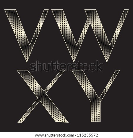 Alphabet with shiny texture. Stylized snake skin. Holiday font ( v w x y ) - stock vector
