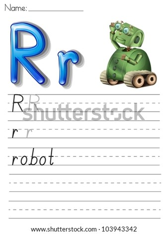 Alphabet worksheet on white paper - stock vector